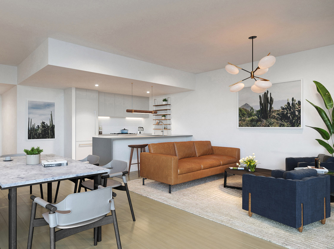 luxury condo in crown heights living area
